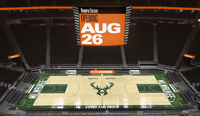 MILWAUKEE, WI - JULY 16: These are views of the new court from various locations in the Wisconsin Entertainment and Sports Center Arena on July 17, 2018 in Milwaukee, Wisconsin. NOTE TO USER: User expressly acknowledges and agrees that, by downloading and or using this Photograph, user is consenting to the terms and conditions of the Getty Images License Agreement. Mandatory Copyright Notice: Copyright 2018 NBAE (Photo by Gary Dineen/NBAE via Getty Images)
